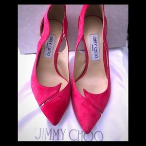 Jimmy Choo Hot Pink Suede and Leather Heels
